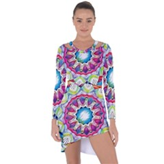 Sunshine Feeling Mandala Asymmetric Cut Out Shift Dress