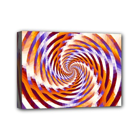 Woven Colorful Waves Mini Canvas 7  x 5
