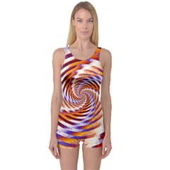 Woven Colorful Waves One Piece Boyleg Swimsuit