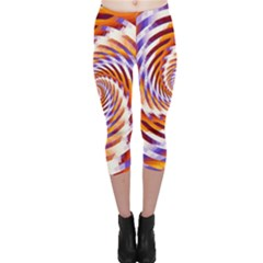Woven Colorful Waves Capri Leggings  by designworld65