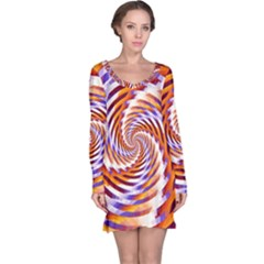 Woven Colorful Waves Long Sleeve Nightdress