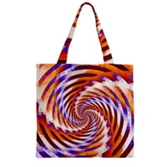 Woven Colorful Waves Zipper Grocery Tote Bag by designworld65