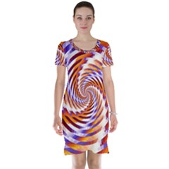 Woven Colorful Waves Short Sleeve Nightdress