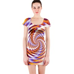 Woven Colorful Waves Short Sleeve Bodycon Dress by designworld65