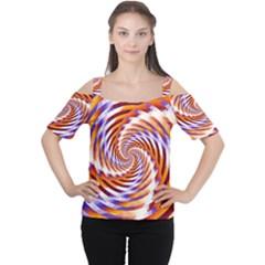 Woven Colorful Waves Cutout Shoulder Tee by designworld65