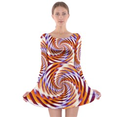 Woven Colorful Waves Long Sleeve Skater Dress