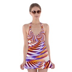 Woven Colorful Waves Halter Swimsuit Dress