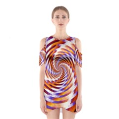 Woven Colorful Waves Shoulder Cutout One Piece