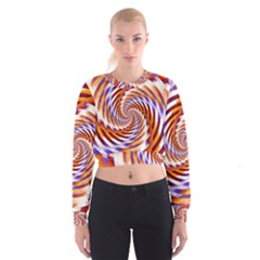 Woven Colorful Waves Cropped Sweatshirt