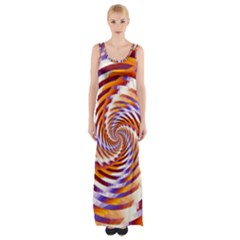 Woven Colorful Waves Maxi Thigh Split Dress by designworld65