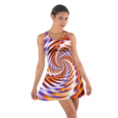 Woven Colorful Waves Cotton Racerback Dress by designworld65