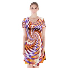 Woven Colorful Waves Short Sleeve V-neck Flare Dress