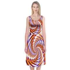 Woven Colorful Waves Midi Sleeveless Dress