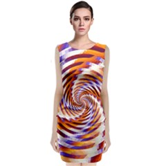 Woven Colorful Waves Classic Sleeveless Midi Dress