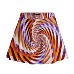 Woven Colorful Waves Mini Flare Skirt