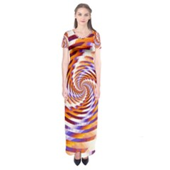 Woven Colorful Waves Short Sleeve Maxi Dress