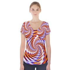 Woven Colorful Waves Short Sleeve Front Detail Top by designworld65