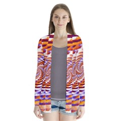 Woven Colorful Waves Drape Collar Cardigan