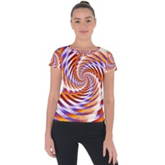 Woven Colorful Waves Short Sleeve Sports Top