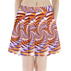 Woven Colorful Waves Pleated Mini Skirt by designworld65
