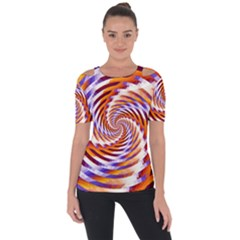 Woven Colorful Waves Short Sleeve Top