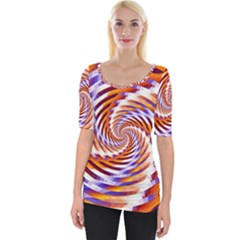 Woven Colorful Waves Wide Neckline Tee by designworld65