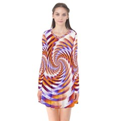 Woven Colorful Waves Flare Dress