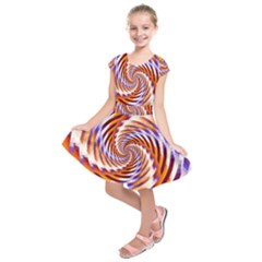 Woven Colorful Waves Kids  Short Sleeve Dress
