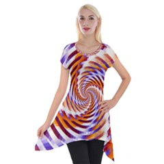 Woven Colorful Waves Short Sleeve Side Drop Tunic