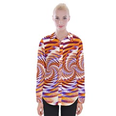 Woven Colorful Waves Womens Long Sleeve Shirt