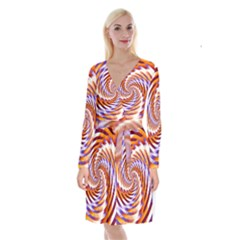 Woven Colorful Waves Long Sleeve Velvet Front Wrap Dress by designworld65
