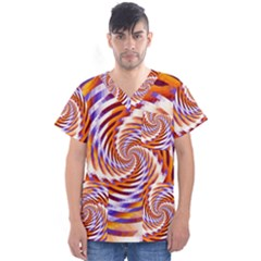 Woven Colorful Waves Men s V-Neck Scrub Top