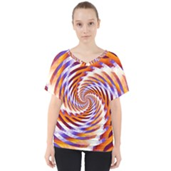 Woven Colorful Waves V-Neck Dolman Drape Top