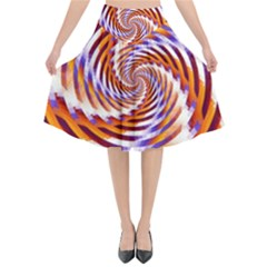 Woven Colorful Waves Flared Midi Skirt