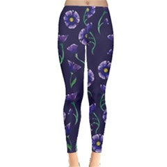 Floral Violet Purple Leggings  by BubbSnugg