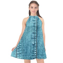 Denim Jeans Fabric Texture Halter Neckline Chiffon Dress