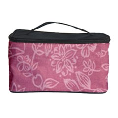 Floral Rose Flower Embroidery Pattern Cosmetic Storage Case by paulaoliveiradesign
