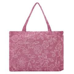 Floral Rose Flower Embroidery Pattern Zipper Medium Tote Bag