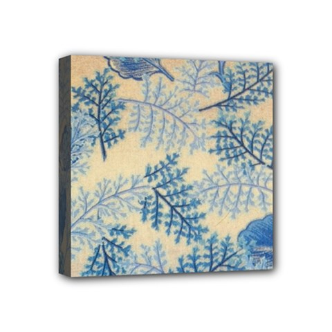 Fabric Embroidery Blue Texture Mini Canvas 4  X 4  by paulaoliveiradesign