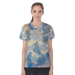 Fabric Embroidery Blue Texture Women s Cotton Tee