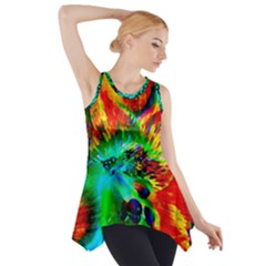Flowers With Color Kick 2 Side Drop Tank Tunic