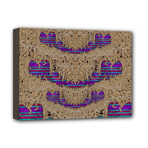 Pearl Lace And Smiles In Peacock Style Deluxe Canvas 16  X 12   by pepitasart