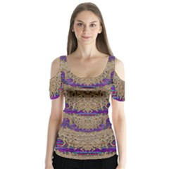 Pearl Lace And Smiles In Peacock Style Butterfly Sleeve Cutout Tee  by pepitasart
