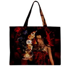 Steampunk, Beautiful Steampunk Lady With Clocks And Gears Zipper Mini Tote Bag by FantasyWorld7