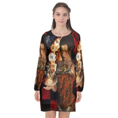 Steampunk, Beautiful Steampunk Lady With Clocks And Gears Long Sleeve Chiffon Shift Dress  by FantasyWorld7