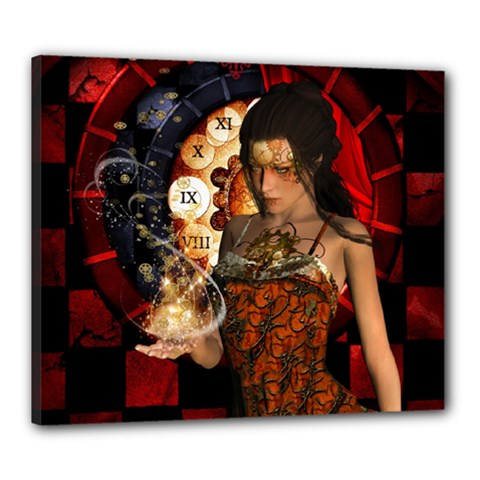 Steampunk, Beautiful Steampunk Lady With Clocks And Gears Canvas 24  X 20  by FantasyWorld7