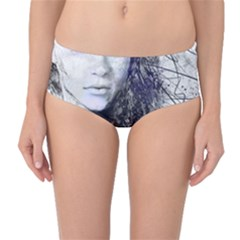 Girl Face Eyes Hair Drawing  Mid Waist Bikini Bottoms by amphoto