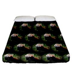 Cute Animal Drops   Red Panda Fitted Sheet (queen Size) by MoreColorsinLife
