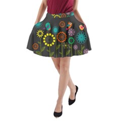 Colorful Vector Flowers Birds  A Line Pocket Skirt by amphoto