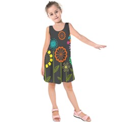 Colorful Vector Flowers Birds  Kids  Sleeveless Dress by amphoto